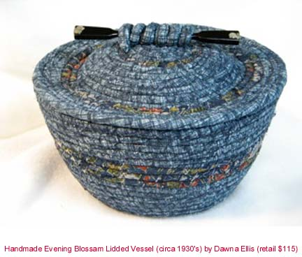 Made of coiled fabric with vintage Kougai on lid
